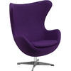 Purple Wool Fabric Egg Chair with Tilt-Lock Mechanism