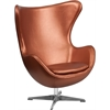Copper Leather Egg Chair with Tilt-Lock Mechanism