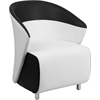 Flash Furniture White Leather Reception Chair with Black Detailing