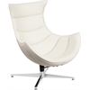 White Leather Swivel Cocoon Chair