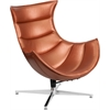Flash Furniture Copper Leather Swivel Cocoon Chair