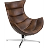 Flash Furniture Bomber Jacket Leather Swivel Cocoon Chair