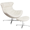 White Leather Cocoon Chair with Ottoman