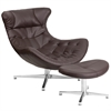 Flash Furniture Brown Leather Cocoon Chair with Ottoman