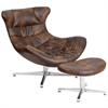 Flash Furniture Bomber Jacket Leather Cocoon Chair with Ottoman