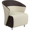 Flash Furniture Beige Leather Reception Chair with Dark Brown Detailing