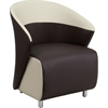 Dark Brown Leather Reception Chair with Beige Detailing