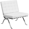 HERCULES Flash Series White Leather Lounge Chair with Curved Legs