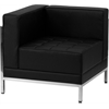 HERCULES Imagination Series Contemporary Black Leather Left Corner Chair with Encasing Frame