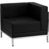 Flash Furniture HERCULES Imagination Series Contemporary Black Leather Right Corner Chair with Encasing Frame
