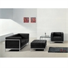 HERCULES Imagination Series Black Leather Loveseat, Chair & Ottoman Set