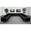 HERCULES Imagination Series Black Leather U-Shape Sectional Configuration, 13 Pieces