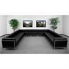 HERCULES Imagination Series Black Leather U-Shape Sectional Configuration, 13 Pieces