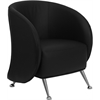 HERCULES Jet Series Black Leather Reception Chair