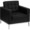 HERCULES Lacey Series Contemporary Black Leather Chair with Stainless Steel Frame