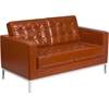 HERCULES Lacey Series Contemporary Cognac Leather Loveseat with Stainless Steel Frame