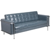 HERCULES Lesley Series Contemporary Gray Leather Sofa with Encasing Frame