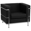 HERCULES Regal Series Contemporary Black Leather Chair with Encasing Frame